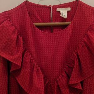 H&M Dresses - Maxi red long sleeve dress. Worn once!